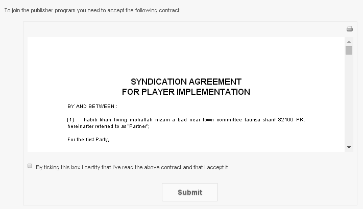 click the check box to complete the agreement publisher dailymotion account