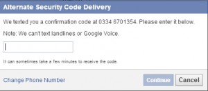 facebook alternate security setting