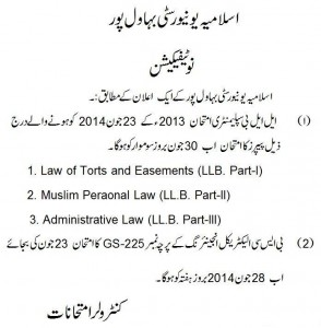 LLB change schedule 2014 Notice