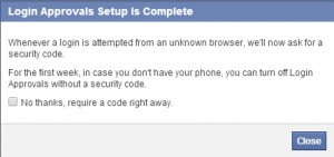 facebook security setup is completed