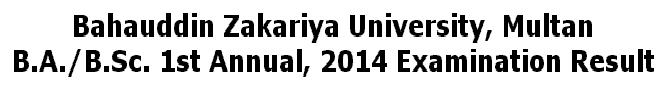 Online Result B.A/B.Sc 1st Annual  2014