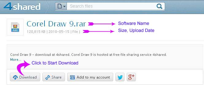 Software name and extention information