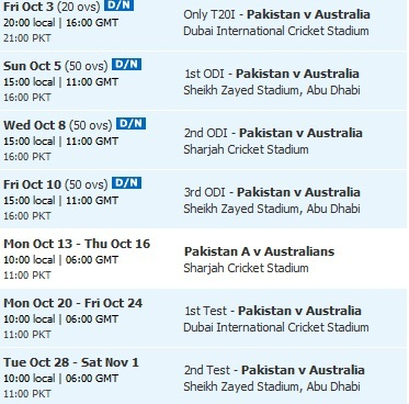 pak vs australia series odi 2014