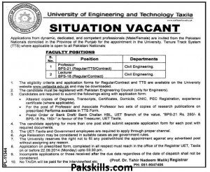 Jobs in University of Engineering and Technology Taxila