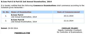 B.Com Part-I & II 2nd Annual Examination Schedule 2014