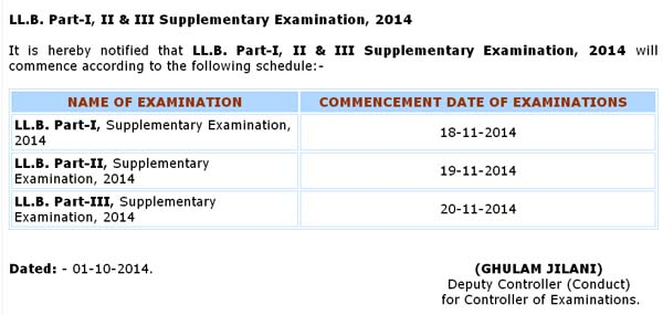 LL.B. Part-I, II & III Supplementary Examination Schedule, 2014
