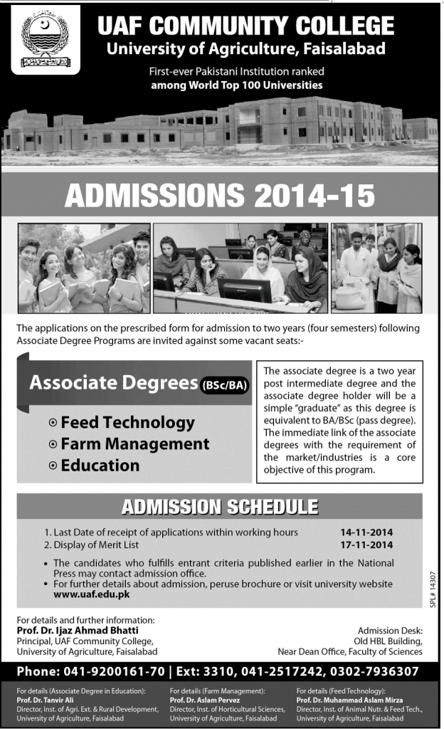 Agriculture University Faisalabad BSc BA Admission 2014-15