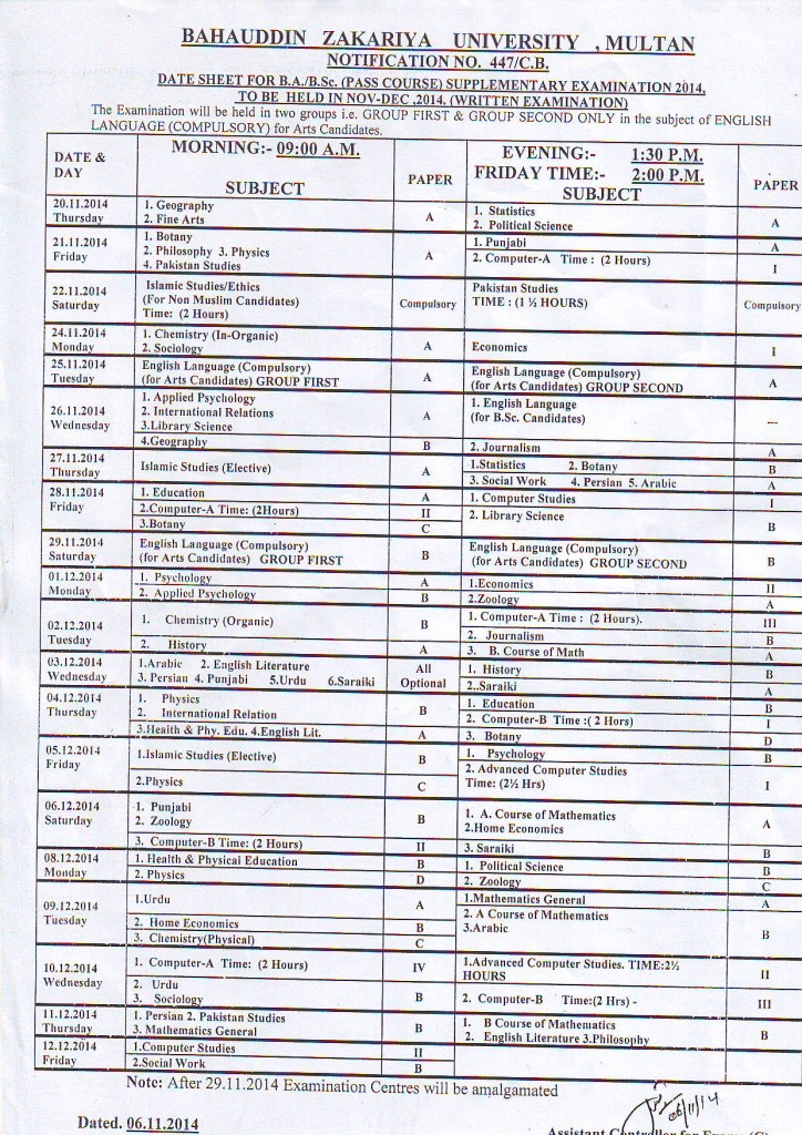 ba bsc date sheet bzu multan