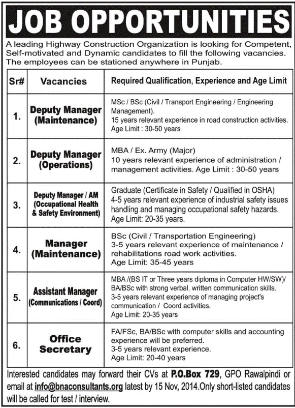 job opportunities 2014 in pakistan