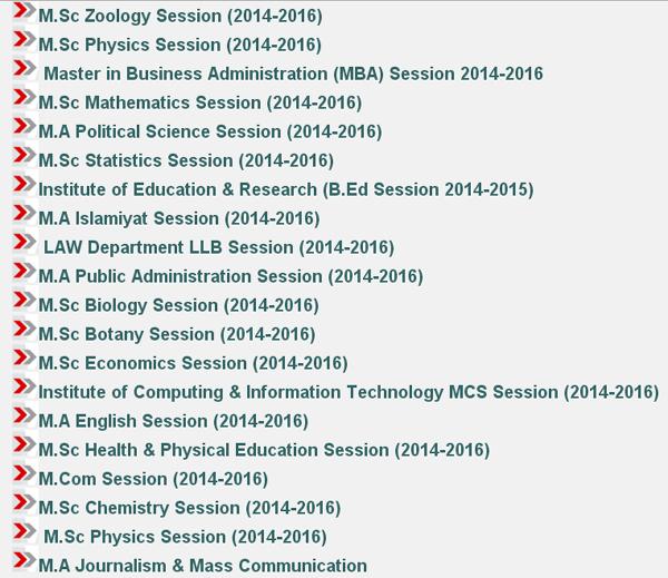 First Merit Lists Master Programs