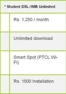 ptcl broadband student pachage rates