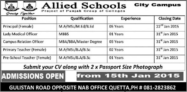 Allied Schools - Principal and Teachers Required